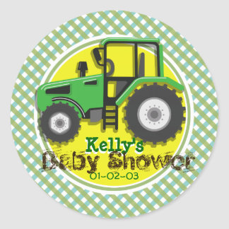 Cute Green & Yellow Tractor; Plaid Baby Shower Classic Round Sticker