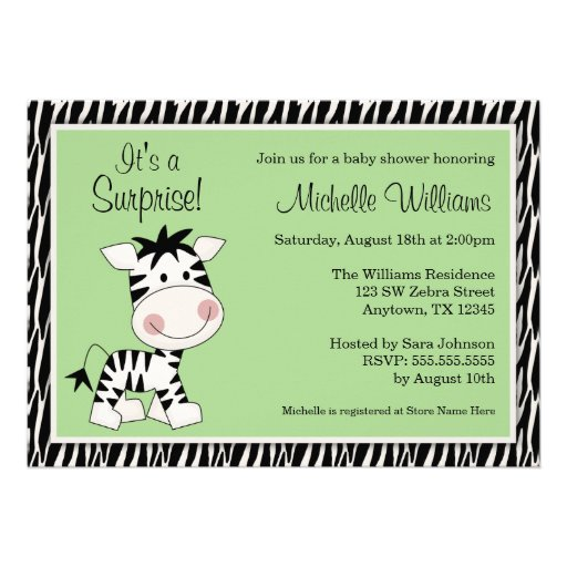 Cute Green Zebra Gender Neutral Baby Shower Personalized Announcement