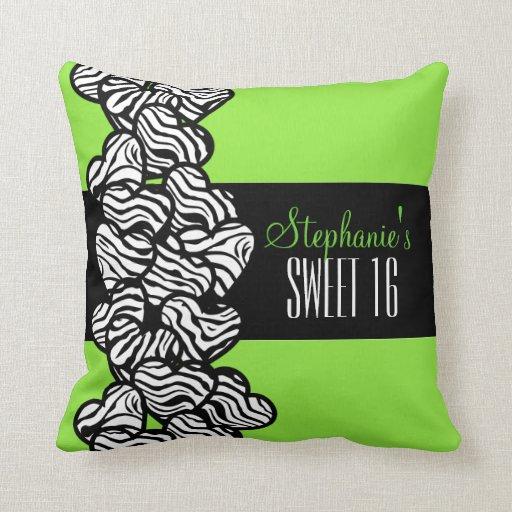Cute Zebra Pillow : Cute Green zebra heart Sweet 16 Birthday Pillow Zazzle