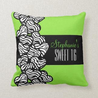 Cute Green zebra heart Sweet 16 Birthday Pillow