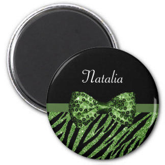 Cute Green Zebra Print FAUX Glitz Bow With Name 2 Inch Round Magnet