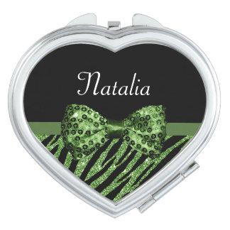 Cute Green Zebra Print FAUX Glitz Bow With Name Compact Mirror