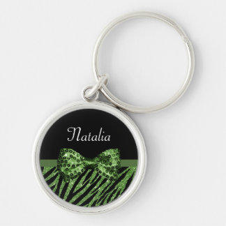 Cute Green Zebra Print FAUX Glitz Bow With Name Keychain