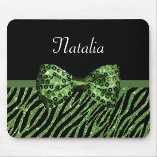 Cute Green Zebra Print FAUX Glitz Bow With Name Mouse Pad