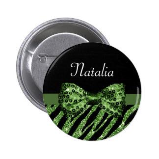 Cute Green Zebra Print FAUX Glitz Bow With Name Pinback Button