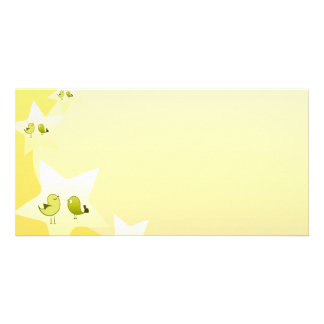 Cute greenish love birds personalized photo card