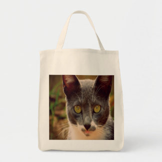 Cute Grey and White Kitty Tote Bag