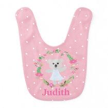 Cute Grey Baby Koala Bear Pink White Polkadots Baby Bib