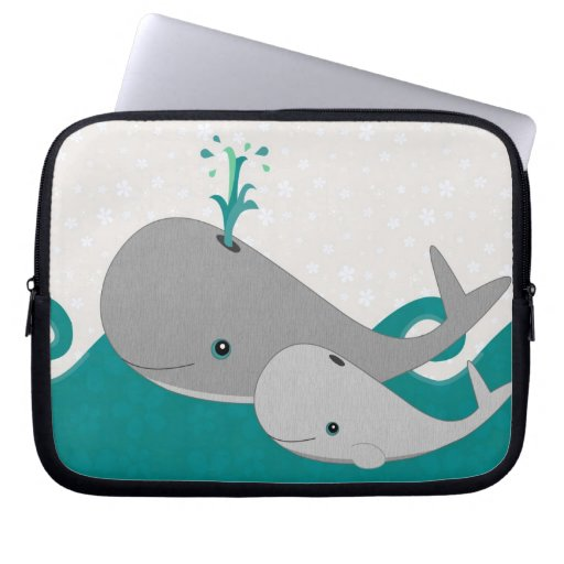 Cute Grey Baby Whale on the Waves Cartoon Laptop Computer Sleeve