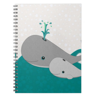 Cute Grey Baby Whale on the Waves Cartoon Spiral Notebook
