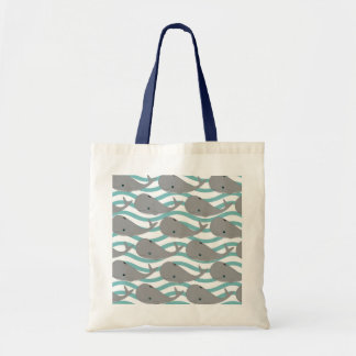 Cute Grey Baby Whale on the Waves Cartoon Tote Bag