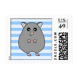 Cute Grey Blue Hamster Postage Stamp