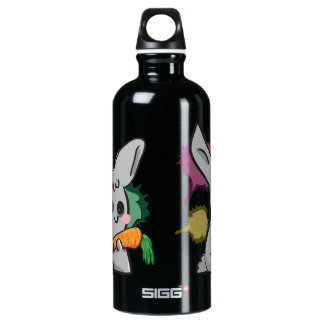cute grey bunny with carrot aluminum water bottle