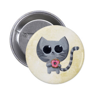 Cute Grey Cat and Donut 2 Inch Round Button