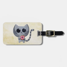 Cute Grey Cat And Donut Bag Tag at Zazzle