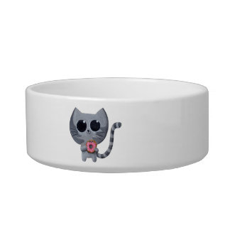 Cute Grey Cat and Donut Bowl