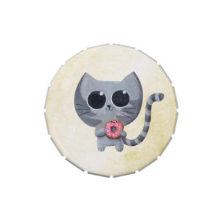 Cute Grey Cat and Donut Candy Tins