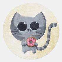 artsprojekt, cat, kitten, kitty, donut, cute donut, kawaii donut, cute, kawaii, sweet donut, kawaii cat, cute cat, cute kitten, kawaii kitten, illustration cat, dessert, illustration, children illustration, children, kid, kids, cat gift, cat present, donut gift, donut present, kawaii gift, kawaii present, Sticker with custom graphic design