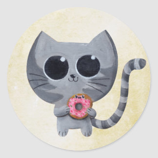 Cute Grey Cat and Donut Classic Round Sticker