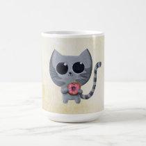 artsprojekt, cat, kitten, kitty, donut, cute donut, kawaii donut, cute, kawaii, sweet donut, kawaii cat, cute cat, cute kitten, kawaii kitten, illustration cat, dessert, illustration, children illustration, children, kid, kids, cat gift, cat present, donut gift, donut present, kawaii gift, kawaii present, Mug with custom graphic design