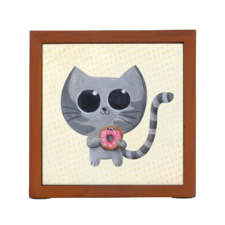 Cute Grey Cat and Donut Pencil Holder
