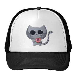Cute Grey Cat and Donut Trucker Hat