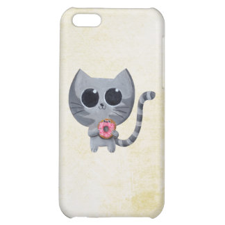 Cute Grey Cat and Donut iPhone 5C Cases