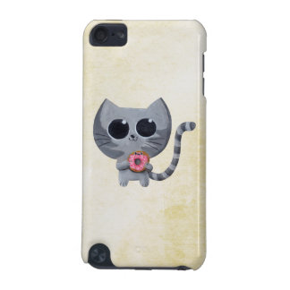 Cute Grey Cat and Donut iPod Touch (5th Generation) Case