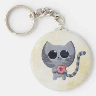 Cute Grey Cat and Donut Keychain