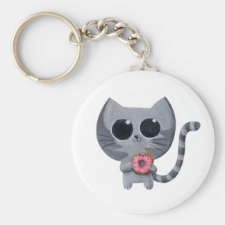 Cute Grey Cat and Donut Key Chain