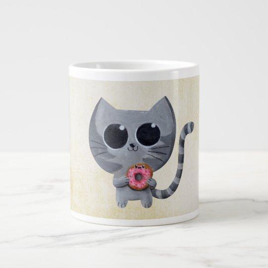 Cute Grey Cat and Donut Large Coffee Mug