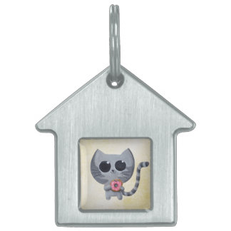 Cute Grey Cat and Donut Pet ID Tag