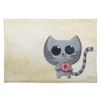 Cute Grey Cat and Donut Placemats