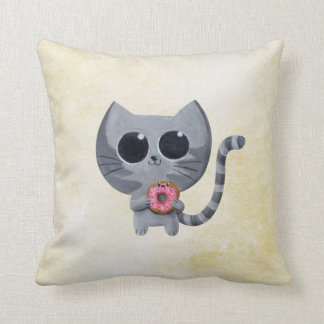 Cute Grey Cat and Donut Throw Pillow