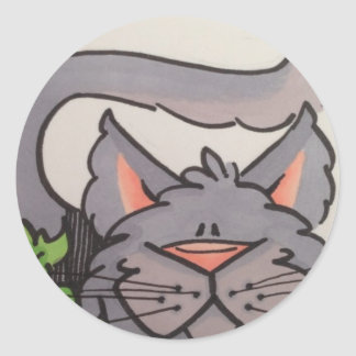 Cute grey cat classic round sticker