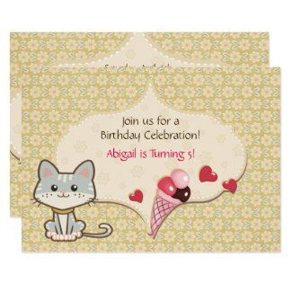 Cute Grey Cat, Ice Cream and Flowers Birthday Invitation