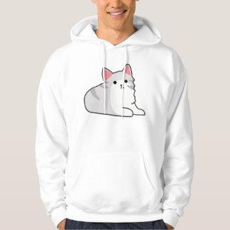 Cute Grey Cat Illustration, Feline Drawing Hoodie