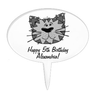 Cute Grey Cat Personalized Birthday Cupcake Pick