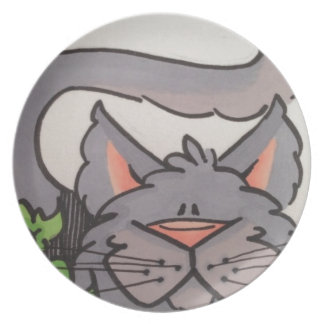 Cute grey cat party plate