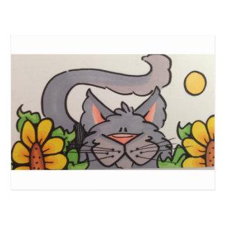 Cute grey cat postcard