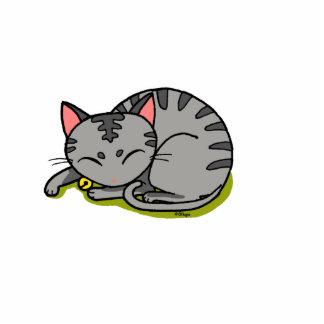 cute grey cat sleeping cutout