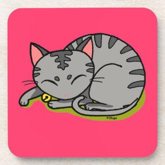 Cute grey cat sleeping drink coaster
