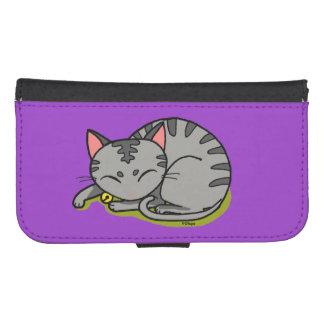 cute grey cat sleeping galaxy s4 wallet case