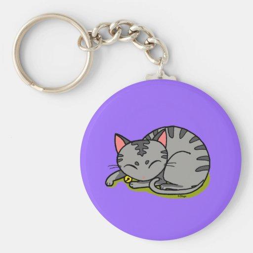 Cute grey cat sleeping keychain