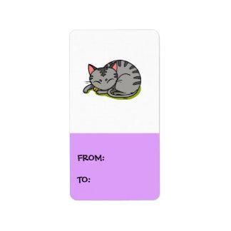 Cute grey cat sleeping label