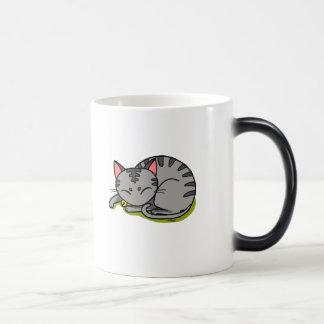 Cute grey cat sleeping magic mug