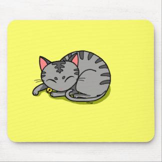 Cute grey cat sleeping mouse pad
