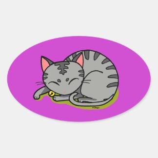 Cute grey cat sleeping oval sticker