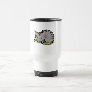 Cute grey cat sleeping travel mug