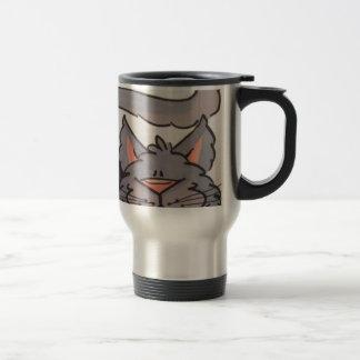 Cute grey cat travel mug